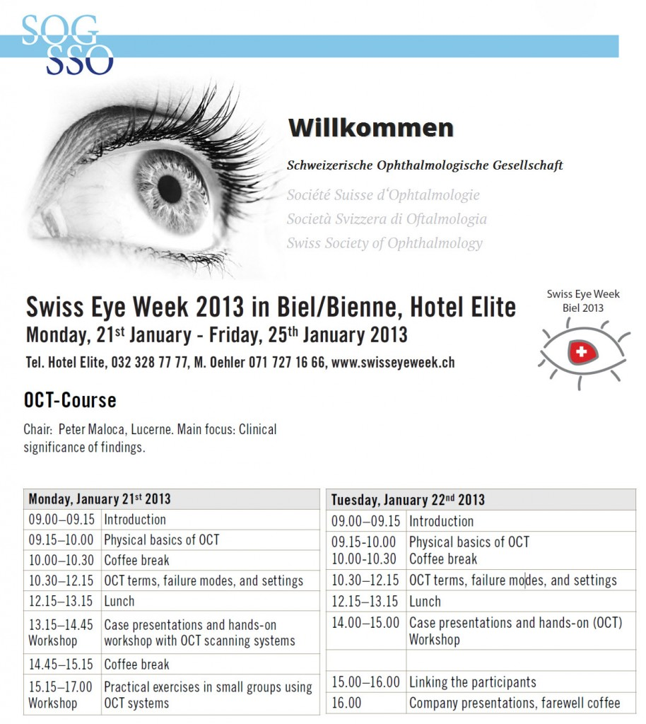 Swiss Eye Week OCT 2013 Dr Peter Maloca SOG SSO
